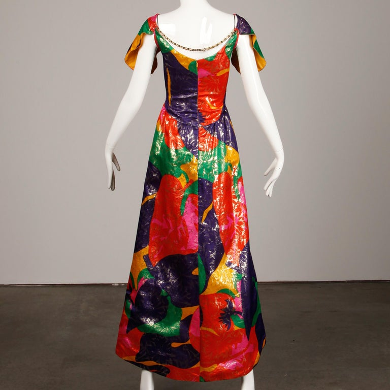 Arnold Scaasi Vintage Colorful Metallic Lamé Silk Evening Gown Dress, 1970s  In Excellent Condition For Sale In Sparks, NV
