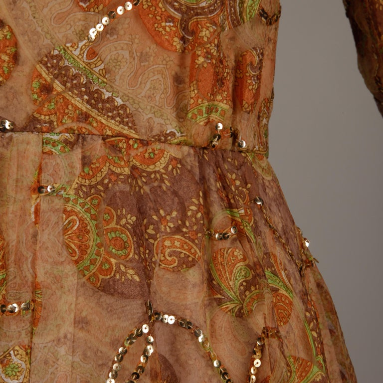 Victoria Royal Vintage Nude Organza Paisley Print Sequin Maxi Dress Gown, 1970s In Excellent Condition For Sale In Sparks, NV