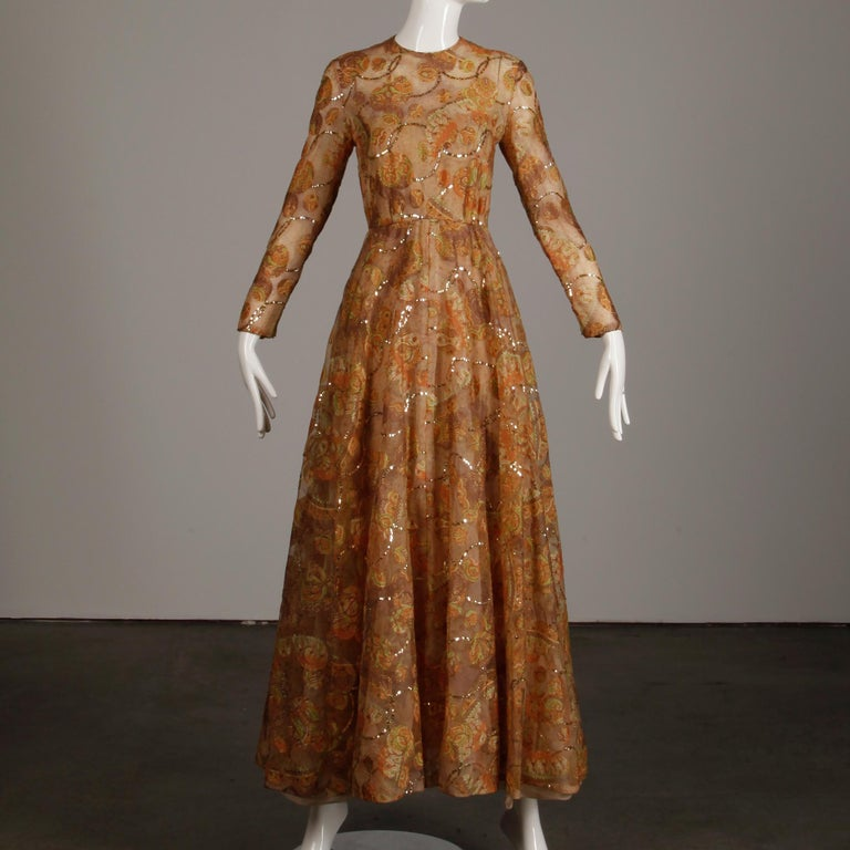 Women's Victoria Royal Vintage Nude Organza Paisley Print Sequin Maxi Dress Gown, 1970s For Sale