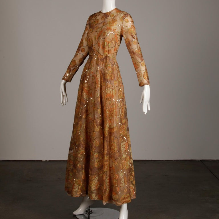 Brown Victoria Royal Vintage Nude Organza Paisley Print Sequin Maxi Dress Gown, 1970s For Sale