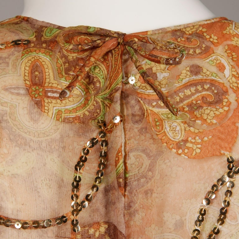 Victoria Royal Vintage Nude Organza Paisley Print Sequin Maxi Dress Gown, 1970s For Sale 3