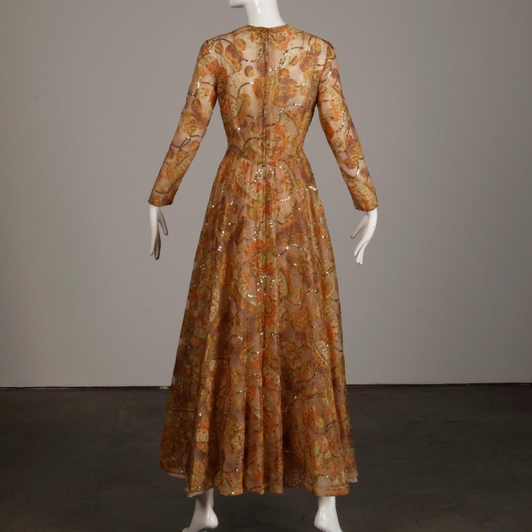 Victoria Royal Vintage Nude Organza Paisley Print Sequin Maxi Dress Gown, 1970s For Sale 2