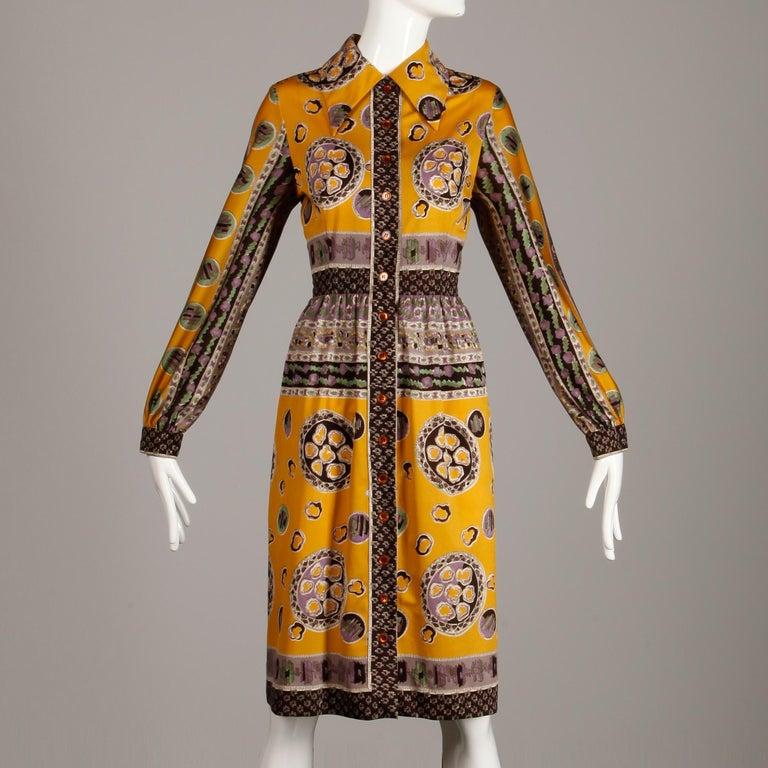 Brown Oscar de la Renta Vintage Silk Jersey Knit Shirt Dress with Scarf Print, 1960s  For Sale