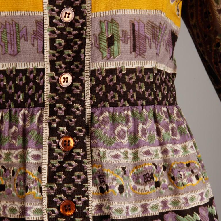 Oscar de la Renta Vintage Silk Jersey Knit Shirt Dress with Scarf Print, 1960s  For Sale 1