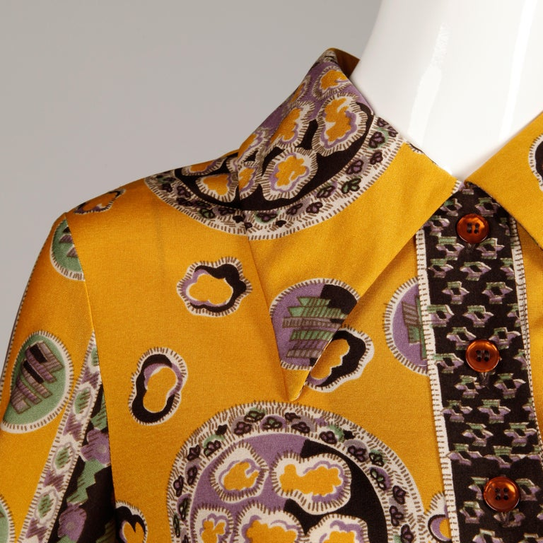 Oscar de la Renta Vintage Silk Jersey Knit Shirt Dress with Scarf Print, 1960s  In Excellent Condition For Sale In Sparks, NV
