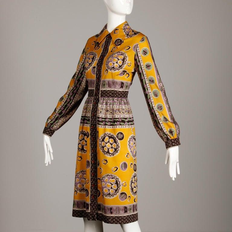 Women's Oscar de la Renta Vintage Silk Jersey Knit Shirt Dress with Scarf Print, 1960s  For Sale