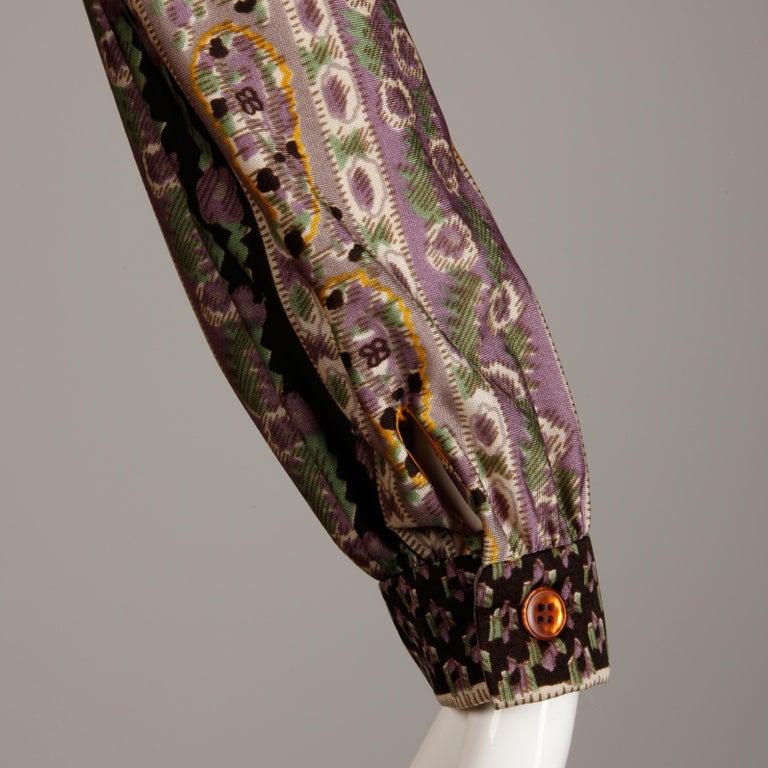 Oscar de la Renta Vintage Silk Jersey Knit Shirt Dress with Scarf Print, 1960s  For Sale 3