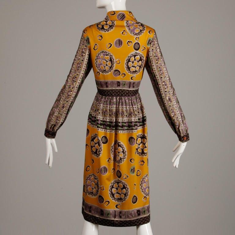 Oscar de la Renta Vintage Silk Jersey Knit Shirt Dress with Scarf Print, 1960s  For Sale 2