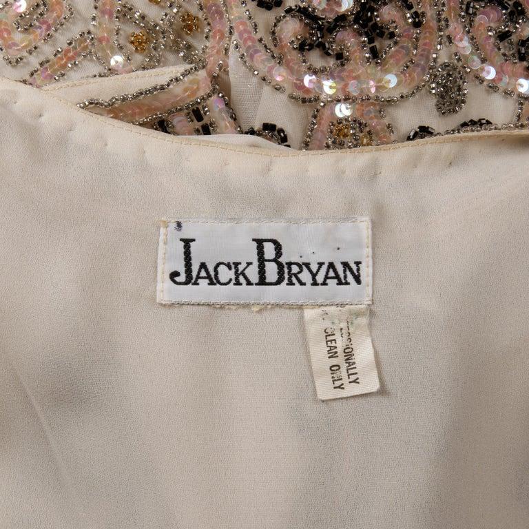 1970s Jack Bryan Vintage Blush Pink Beaded + Sequin Jacket For Sale 5