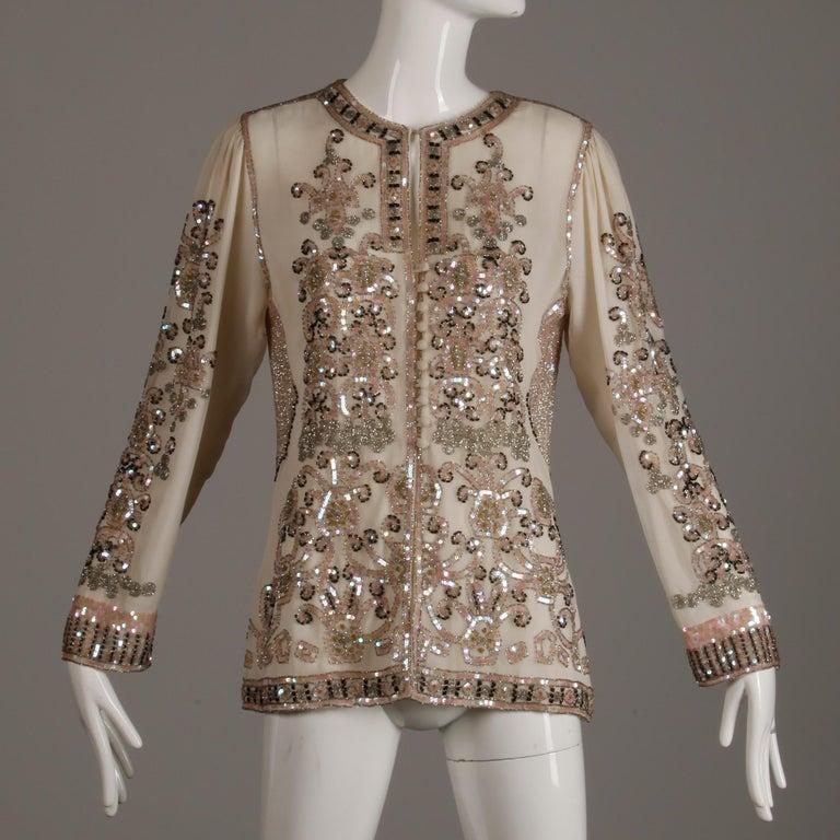 1970s Jack Bryan Vintage Blush Pink Beaded + Sequin Jacket For Sale 1