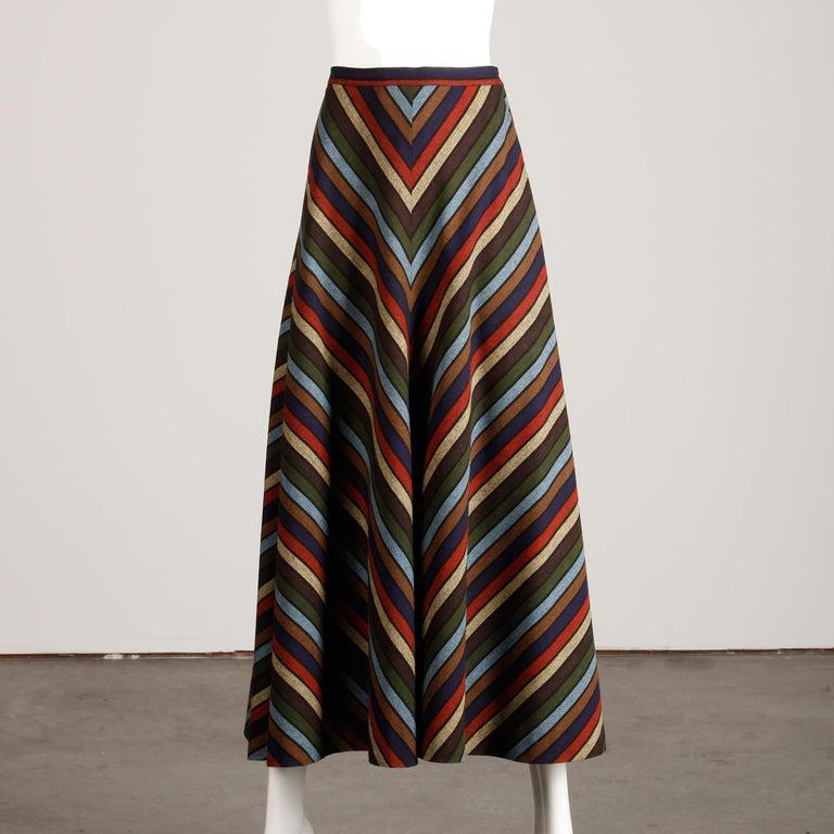 Wool Chevron Striped Metal Chain Vest Top Maxi Skirt 2-Piece Ensemble, 1970s  For Sale 6