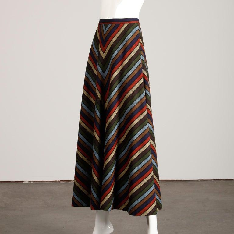 Wool Chevron Striped Metal Chain Vest Top Maxi Skirt 2-Piece Ensemble, 1970s  For Sale 5