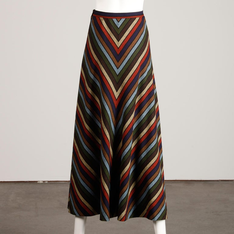 Black Wool Chevron Striped Metal Chain Vest Top Maxi Skirt 2-Piece Ensemble, 1970s  For Sale