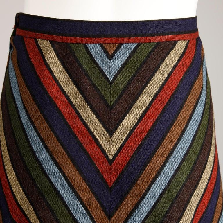 Women's Wool Chevron Striped Metal Chain Vest Top Maxi Skirt 2-Piece Ensemble, 1970s  For Sale