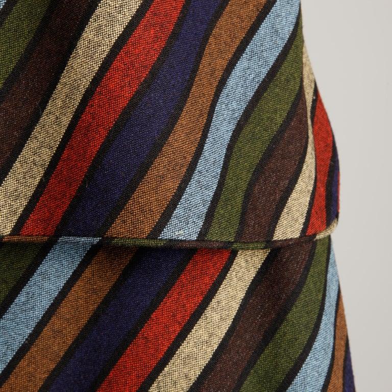 Wool Chevron Striped Metal Chain Vest Top Maxi Skirt 2-Piece Ensemble, 1970s  For Sale 4