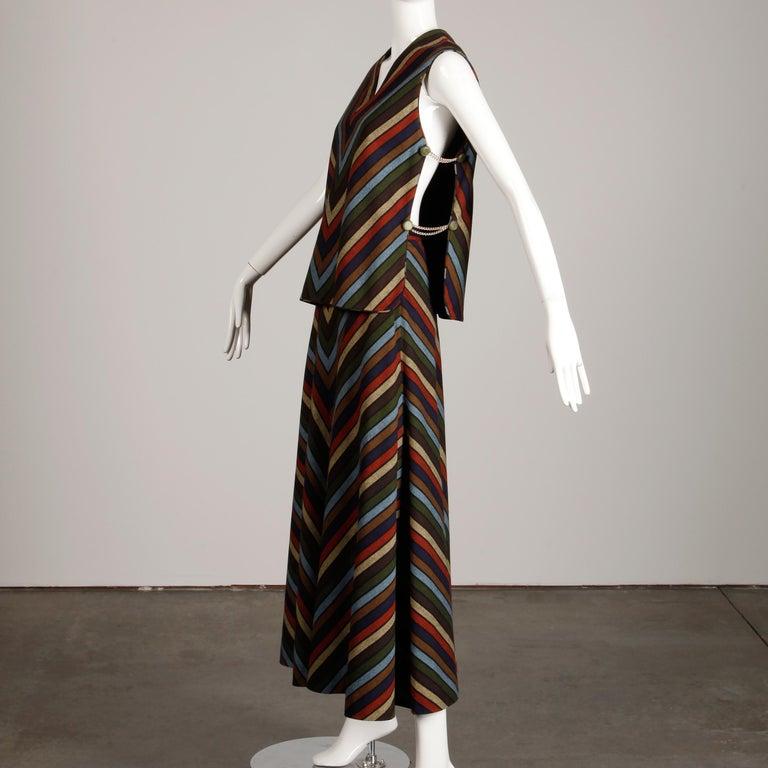 Wool Chevron Striped Metal Chain Vest Top Maxi Skirt 2-Piece Ensemble, 1970s  For Sale 1