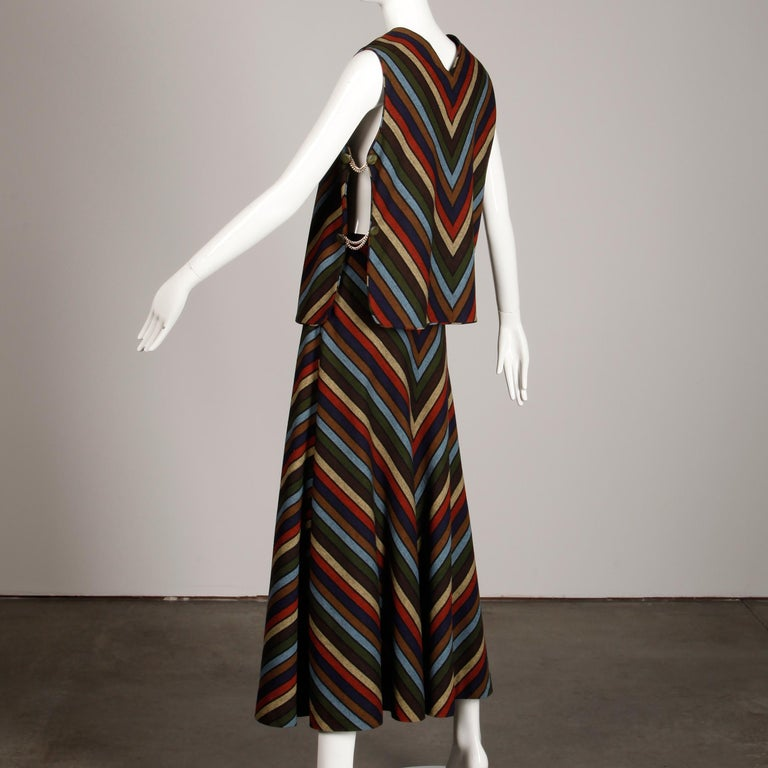 Wool Chevron Striped Metal Chain Vest Top Maxi Skirt 2-Piece Ensemble, 1970s  For Sale 3
