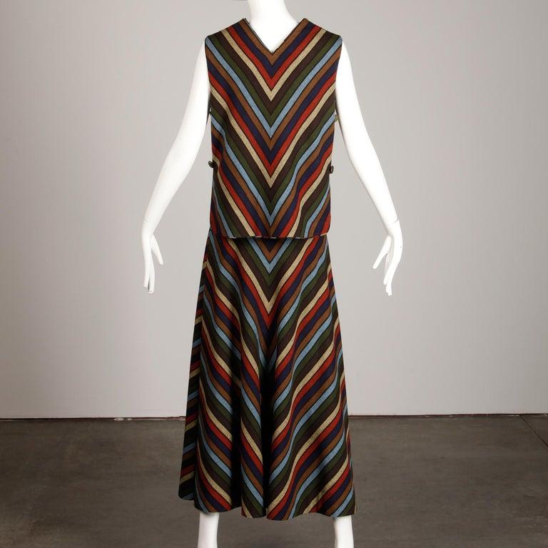 Wool Chevron Striped Metal Chain Vest Top Maxi Skirt 2-Piece Ensemble, 1970s  For Sale 2