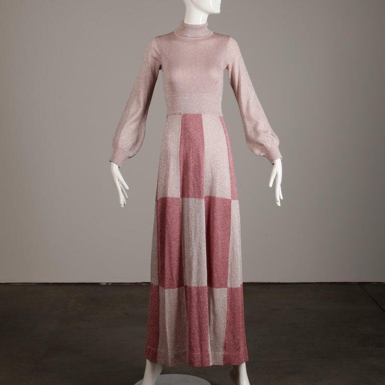 1970s Wenjilli Vintage Metallic Pink Knit Maxi Dress For Sale 1