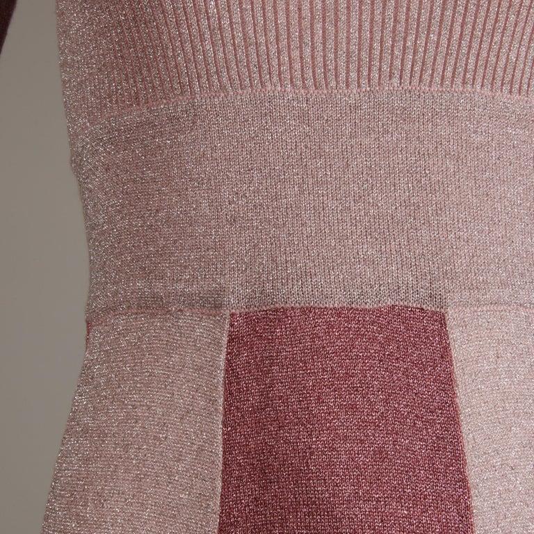 Women's 1970s Wenjilli Vintage Metallic Pink Knit Maxi Dress For Sale