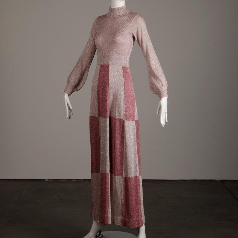 Brown 1970s Wenjilli Vintage Metallic Pink Knit Maxi Dress For Sale
