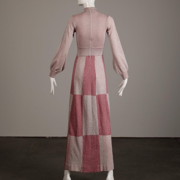 1970s Wenjilli Vintage Metallic Pink Knit Maxi Dress In Excellent Condition For Sale In Sparks, NV