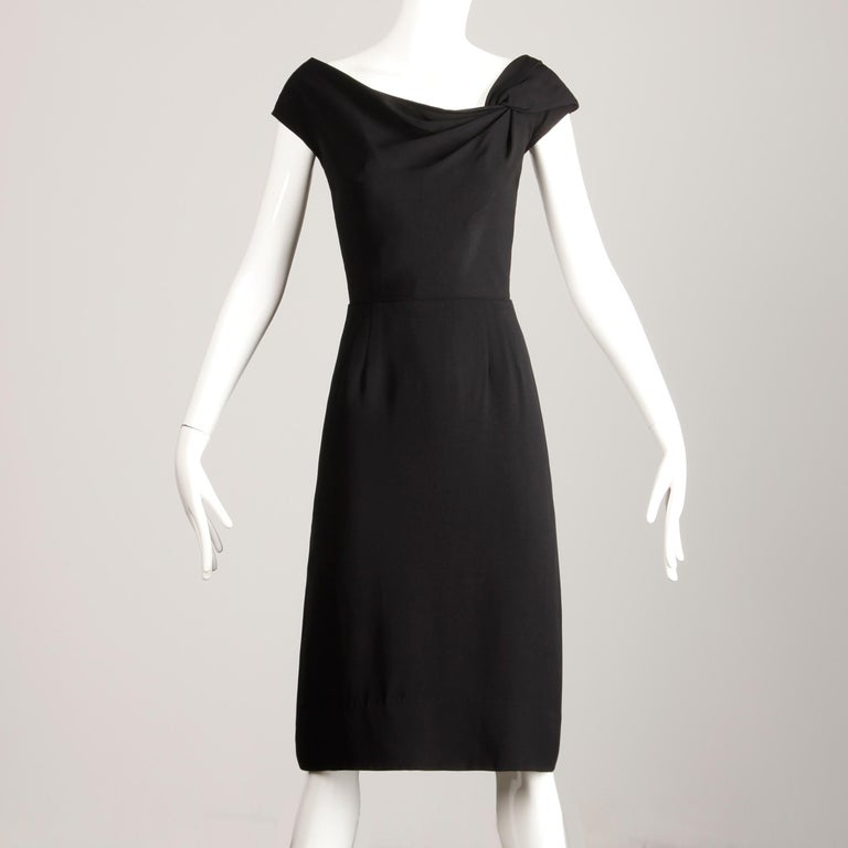 1950s Dorothy O'Hara Vintage Black Asymmetric Cocktail Sheath Dress  For Sale 2