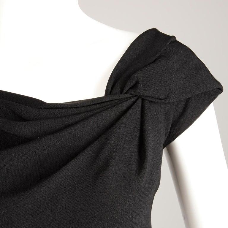 1950s Dorothy O'Hara Vintage Black Asymmetric Cocktail Sheath Dress  For Sale 1