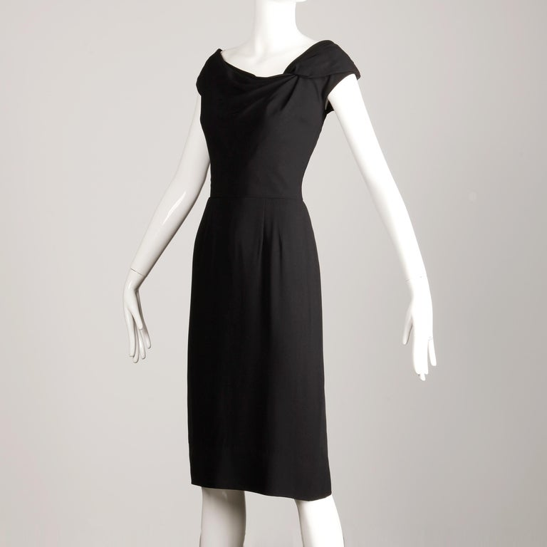 1950s Dorothy O'Hara Vintage Black Asymmetric Cocktail Sheath Dress  In Excellent Condition For Sale In Sparks, NV