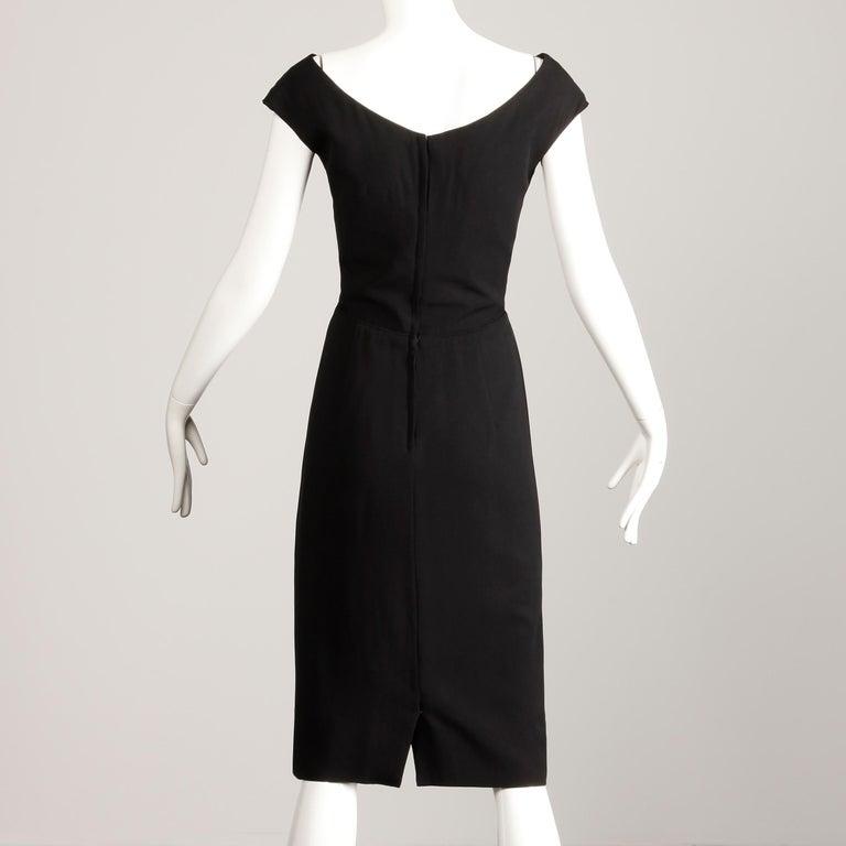 Women's 1950s Dorothy O'Hara Vintage Black Asymmetric Cocktail Sheath Dress  For Sale