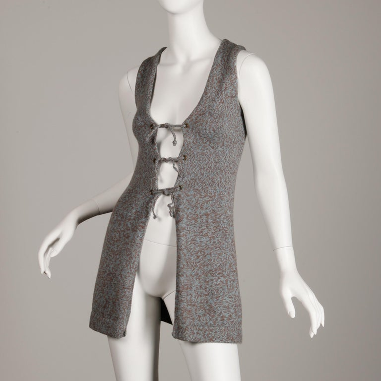 Gray 1970s Mary Farrin Vintage Wool Knit Lace Up Sweater Vest or Waistcoat For Sale