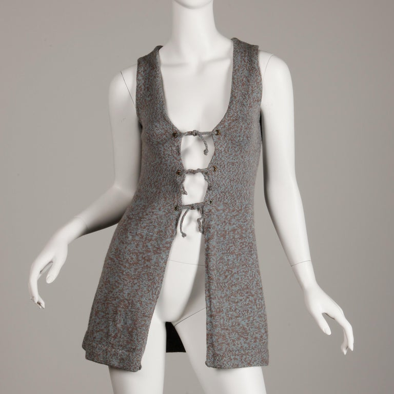 1970s Mary Farrin Vintage Wool Knit Lace Up Sweater Vest or Waistcoat For Sale 2