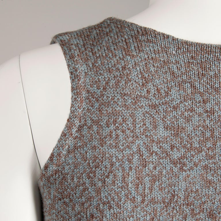 1970s Mary Farrin Vintage Wool Knit Lace Up Sweater Vest or Waistcoat For Sale 3