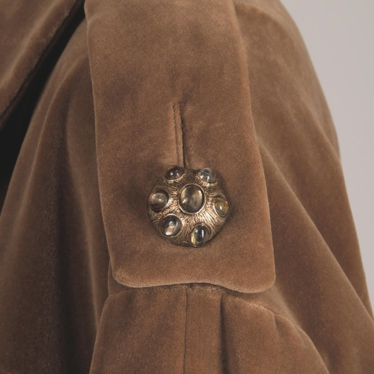 1960s Charles Cooper for Nan Duskin Vintage Brown Velvet Military Mod Coat For Sale 2