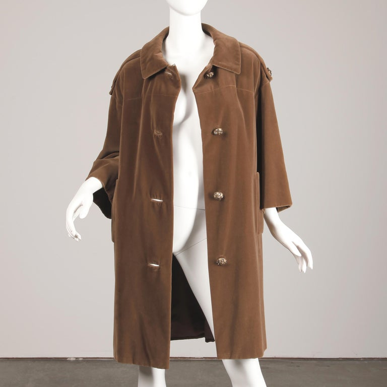 1960s Charles Cooper for Nan Duskin Vintage Brown Velvet Military Mod Coat For Sale 1
