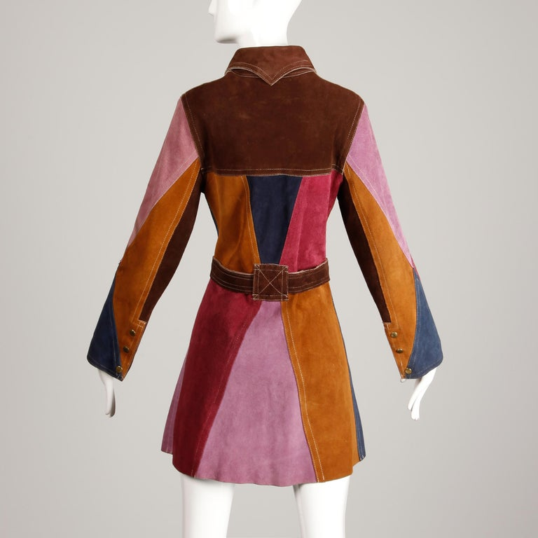 Women's 1970s Vintage Color Block Suede Leather Boho Coat with Snaps & Belt For Sale