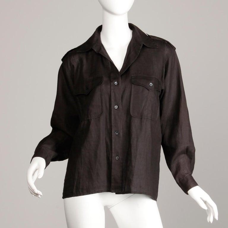1970s Yves Saint Laurent Vintage Black Linen Safari Button Up Blouse/ Top/ Shirt For Sale 1