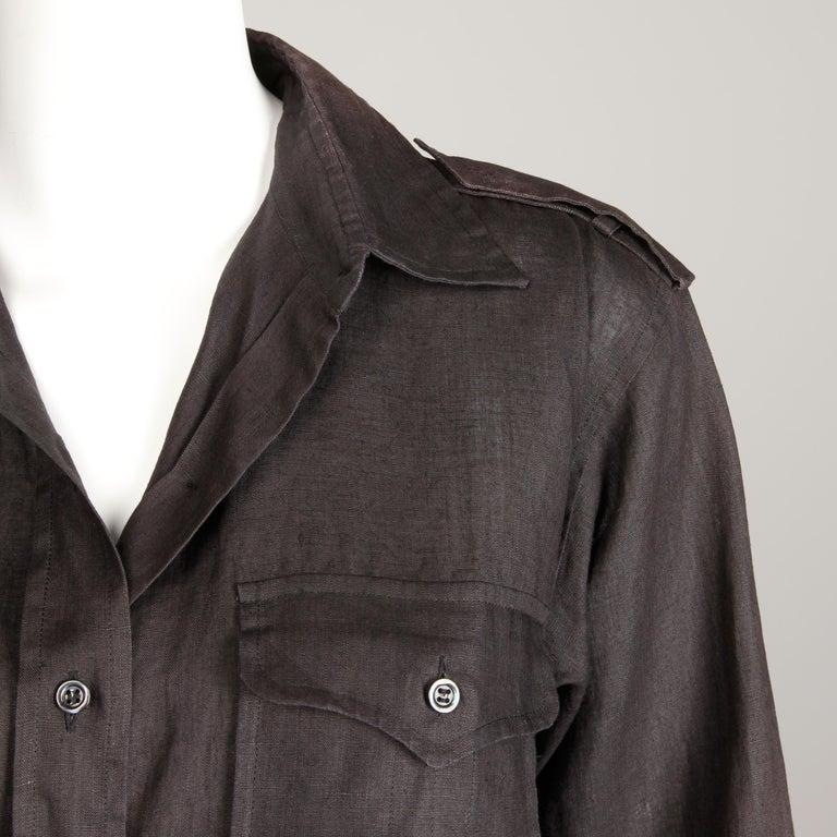 Women's or Men's 1970s Yves Saint Laurent Vintage Black Linen Safari Button Up Blouse/ Top/ Shirt For Sale