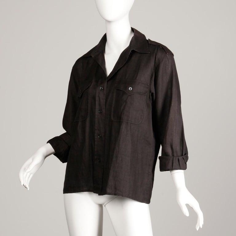 1970s Yves Saint Laurent Vintage Black Linen Safari Button Up Blouse/ Top/ Shirt In Excellent Condition For Sale In Sparks, NV