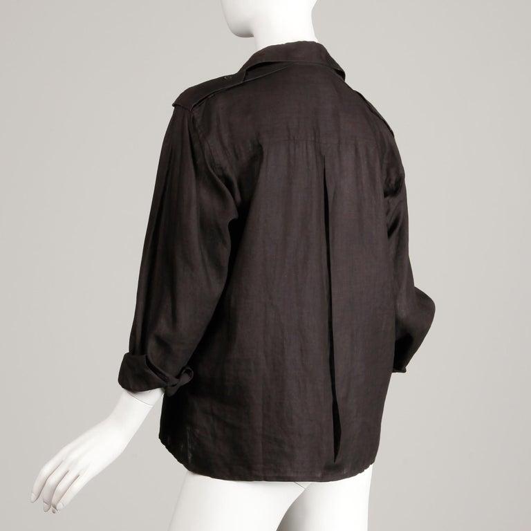 1970s Yves Saint Laurent Vintage Black Linen Safari Button Up Blouse/ Top/ Shirt For Sale 2