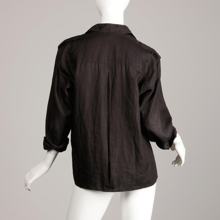 1970s Yves Saint Laurent Vintage Black Linen Safari Button Up Blouse/ Top/ Shirt For Sale 3