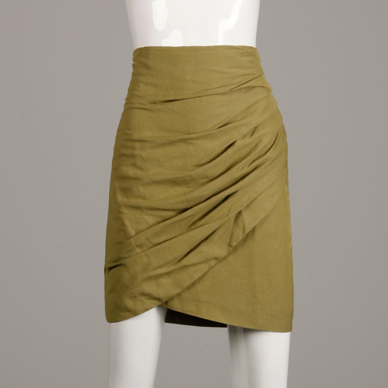 Brown 1990s Byblos Vintage Olive Green Asymmetric Ruched Stretch Linen Pencil Skirt For Sale