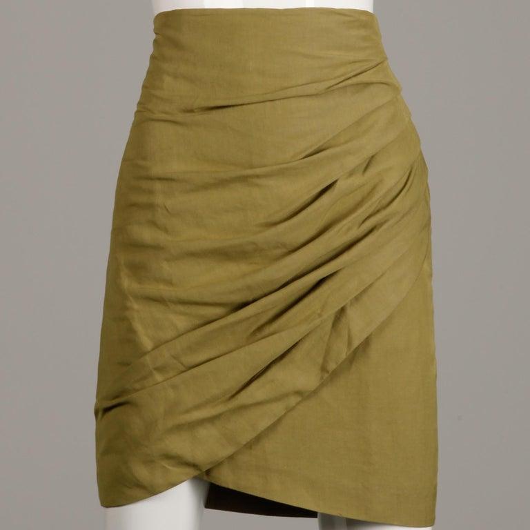 1990s Byblos Vintage Olive Green Asymmetric Ruched Stretch Linen Pencil Skirt For Sale 1
