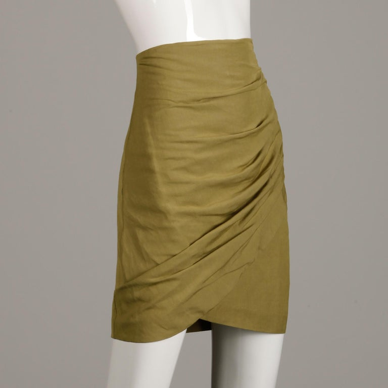Women's 1990s Byblos Vintage Olive Green Asymmetric Ruched Stretch Linen Pencil Skirt For Sale