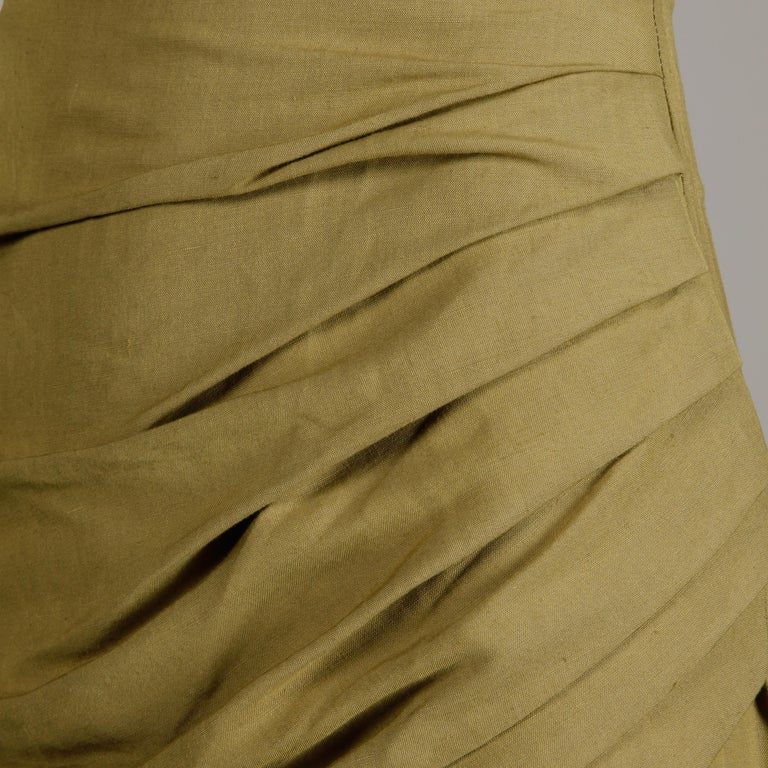 1990s Byblos Vintage Olive Green Asymmetric Ruched Stretch Linen Pencil Skirt In Excellent Condition For Sale In Sparks, NV