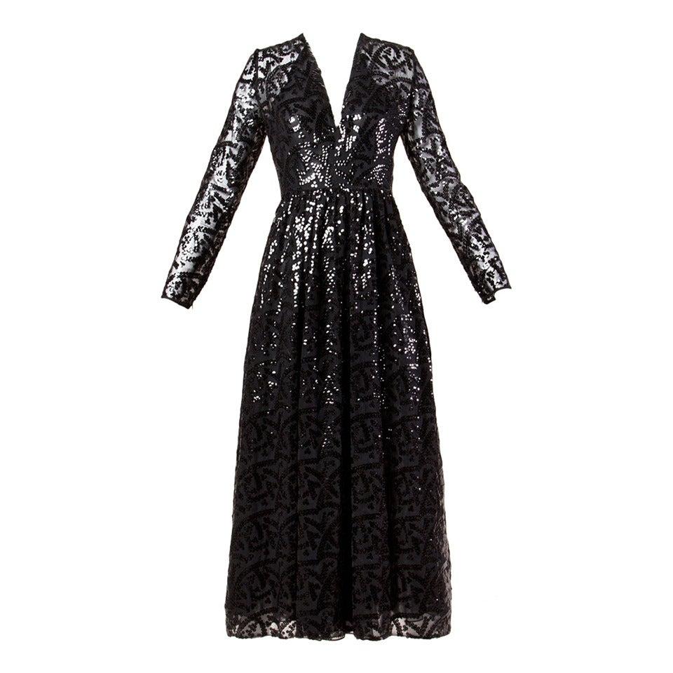 Evelyn Byrnes Vintage 1970s 70s Long Black Sequin Maxi Dress 1