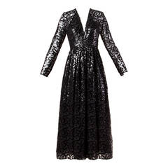 Evelyn Byrnes Vintage 1970s 70s Long Black Sequin Maxi Dress