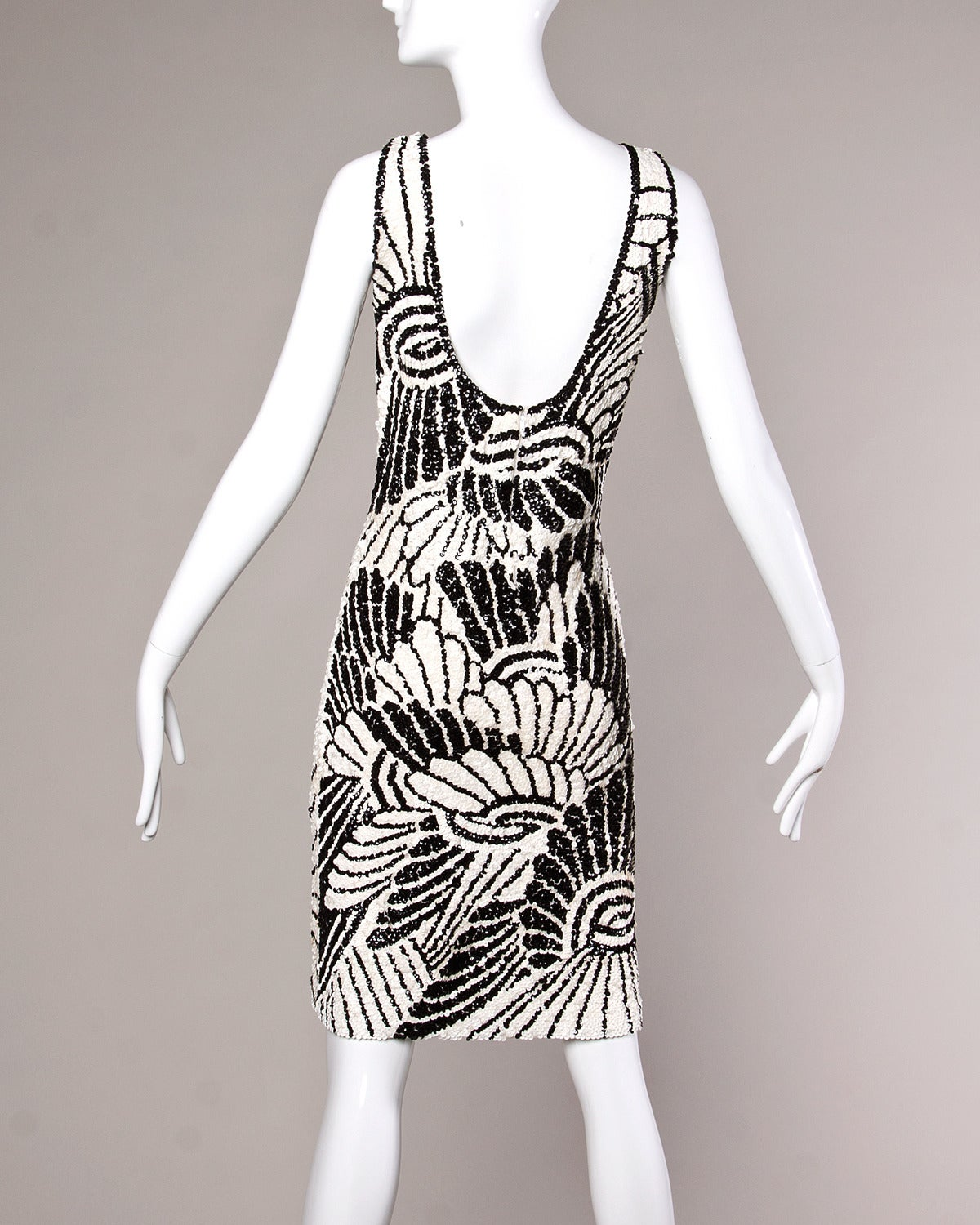 Vintage 1960s 60s Black + White Op Art Sequin Wool Cocktail Dress at ...