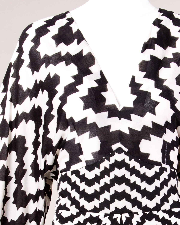 La Mendola Vintage 1970s 70s Custom Couture Graphic Black + White Op Art Dress 2