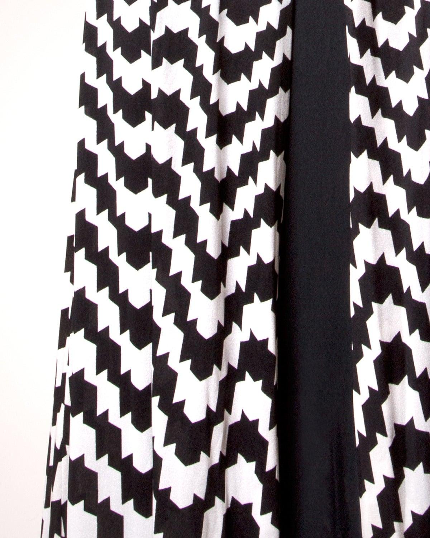 La Mendola Vintage 1970s 70s Custom Couture Graphic Black + White Op Art Dress 4